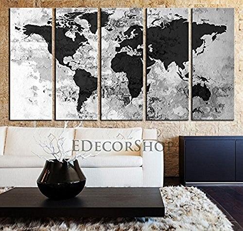 TANDA Extra Large Canvas Dark Grey World Map On Old White Bricked - Extra large framed world map