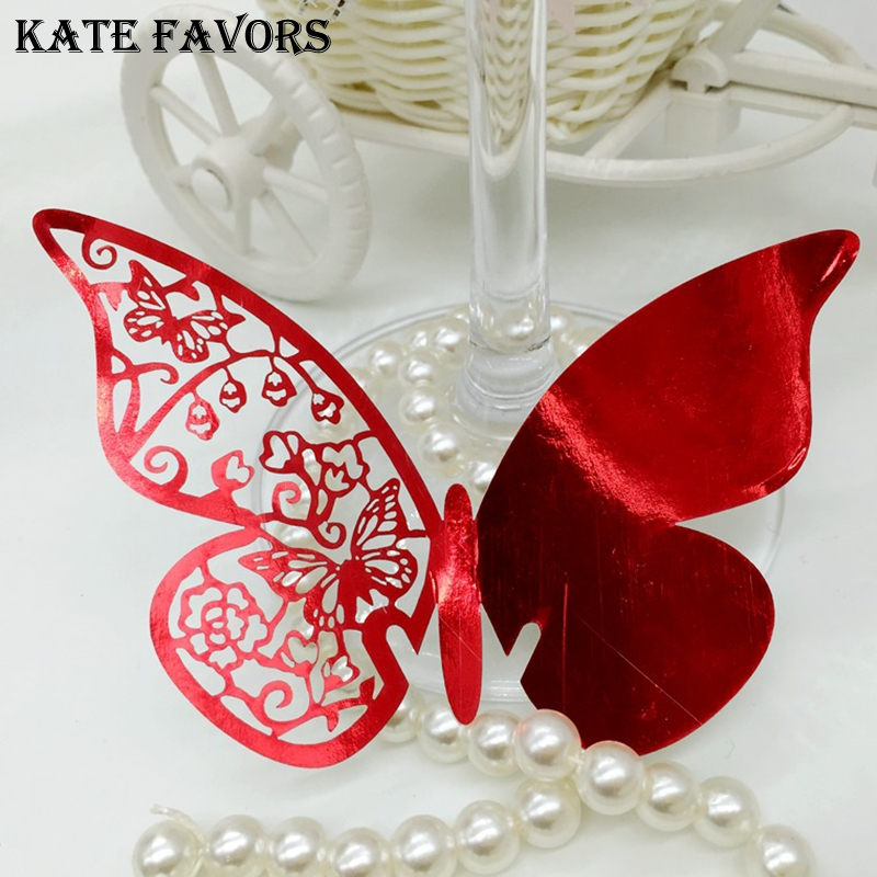 Wholesale 50Pcs Butterfly Laser Cut Romantic Wedding Invitation Table Name Place Cards for Wedding Party