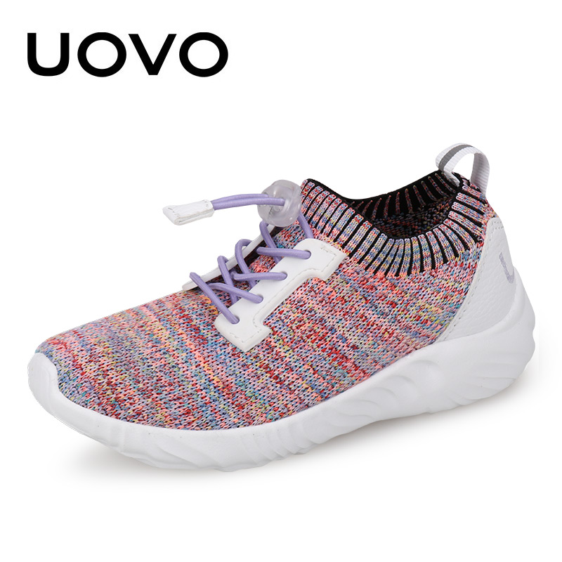 все цены на UOVO 2018 NEW Children Weaving Shoes Breathable Boys & Girls Sneakers Fashion Spring & Autumn Sports Casual For Kids Size 31-39 онлайн