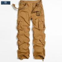 EL BARCO New Cotton Men Cargo Pants Autumn Pockets Soft Army Green Yellow Purple Grey