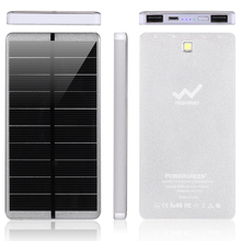 PowerGreen 100% Real Capacity 10000mAh Solar Charger Power Bank External Battery Pack Charger for Samsung Phones with LEDs