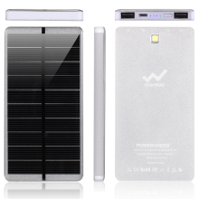 PowerGreen 10000mAh Solar Charger Power Bank LEDs Design External Battery Pack Charger for Samsung Phones