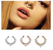 2pc/lot Jeffreeing Star nose Rings Crystal Fake Nose Ring Septum Piercing Hanger Clip On Body Jewelry Nose Hoop rings colourpop