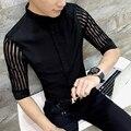 2017 Camisas Dos Homens Do Laço Sexy Camisas Black Night Club Roupas Slim Fit Camisa Camisas de Verão Transparente DJ Moda Blusa Branca