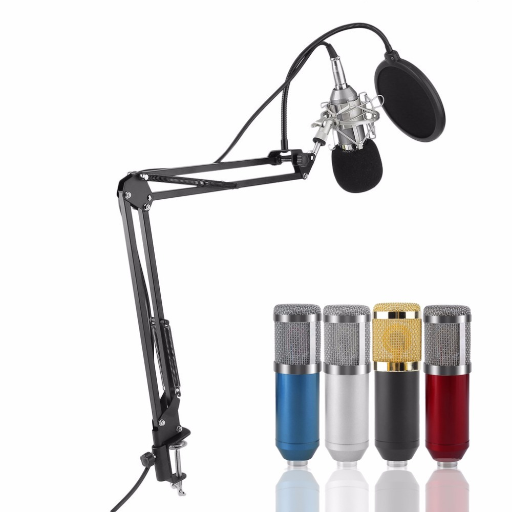 BM-800 Microphone Set Capacitor Professional + Stand Holder Bracket + Adapter + Filter Complete + Anti-Shock Mount + Foam Cap bm 800