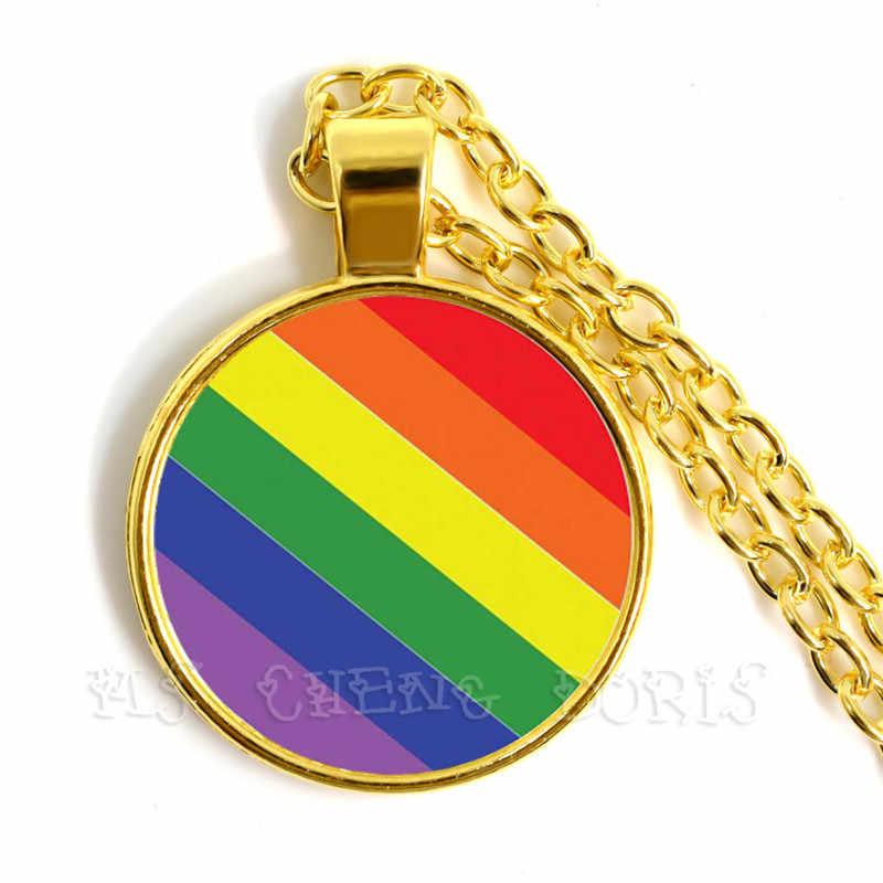 Gay Pride Rainbow naszyjnik lesbijki LGBT 25mm szklana kopuła Cabochon pozłacane naszyjnik dla kobiet mężczyzn kochanka prezent
