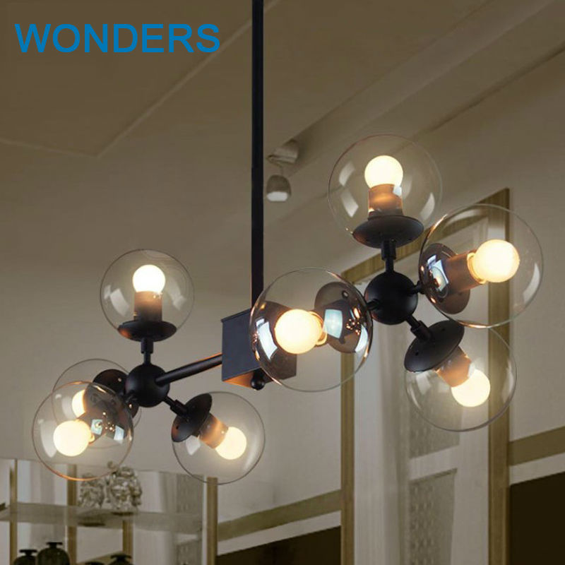 2016 Magic Bean Chandeliers Pendant Lamps AC 110-240V LED DNA Bubble Modern Glass Pendant Light For Living Room Mall Hotel Decor modern magic bean dna molecules chandelier pendant lamp dna lamp modern glass ball lamps with 10 bulbs