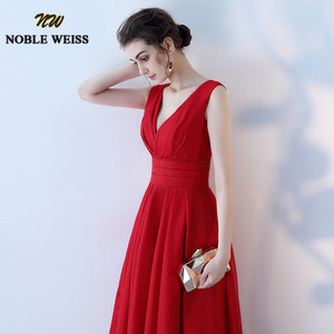 Image 3 - NOBLE WEISS Elegant Satin Red Prom Dresses Long Floor Length Special Occasion Gowns With Sexy V neck Girls vestido de festa