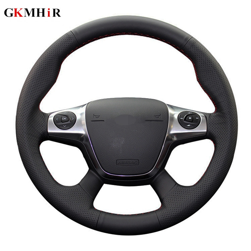 Black Soft Artificial Leather Car Steering Wheel Cover for Ford Focus 3 2012 2014 KUGA Escape 2013 2016-in Steering Covers from Automobiles & Motorcycles