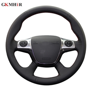 Image 1 - Black Soft Artificial Leather Car Steering Wheel Cover for Ford Focus 3 2012 2014 KUGA Escape 2013 2016