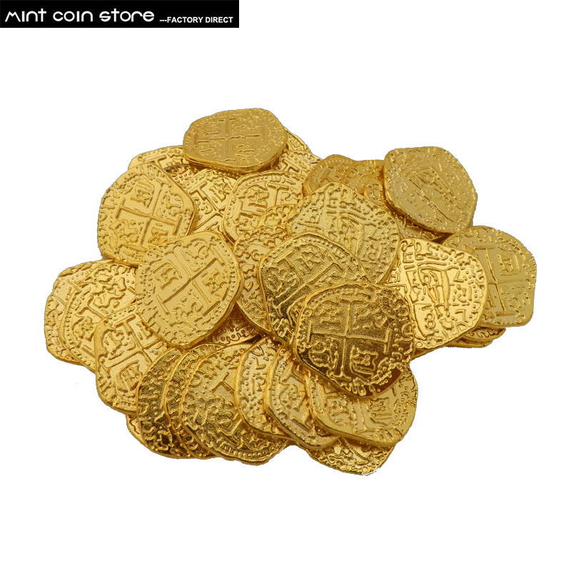 LOT X 1 Piece European Spain Doubloon gold coin captain pirate toy party metal coin treasure game hunt image
