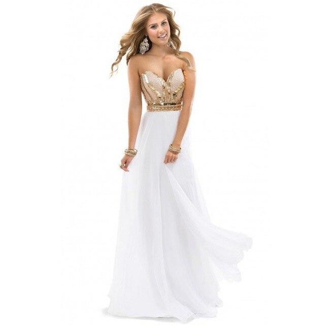 02fb1a165 Vestidos de noche largos elegante que rebordea blanco y oro piso vestido de  gasa largo vestido