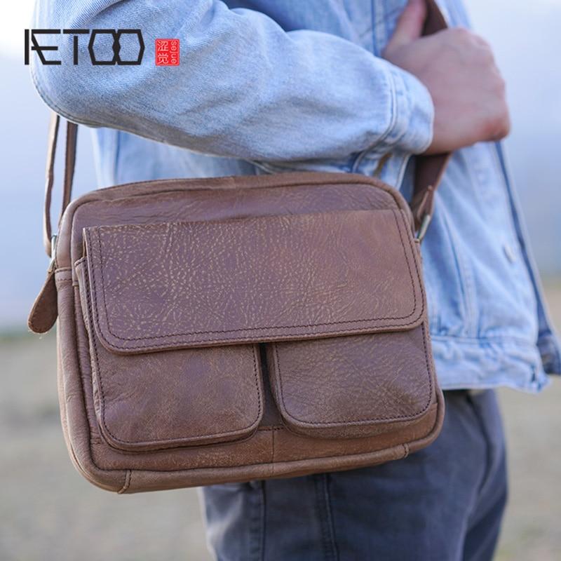 AETOO кожаная мужская сумка-мессенджер, Мужская художественная Ретро школьная плечевая сумка, Молодежная летняя сумка