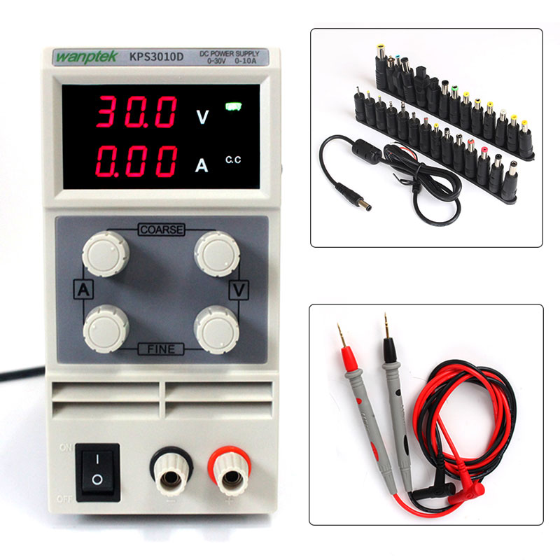 DC Power Supply Variable, Wanptek Adjustable Switching Regulated Power Supply Digital, 30 V 10A with probe pen 28PCS Terminal mini adjustable dc power supply laboratory power supply digital variable voltage regulator 30v10a four display ps3010dm