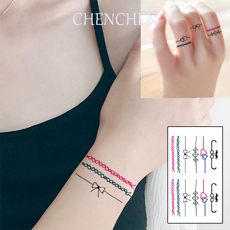 Temporary Tattoo sticker for body art wrist strap bracelet ring water transfer flash tattoo fake tatoo for girl finger tattoos