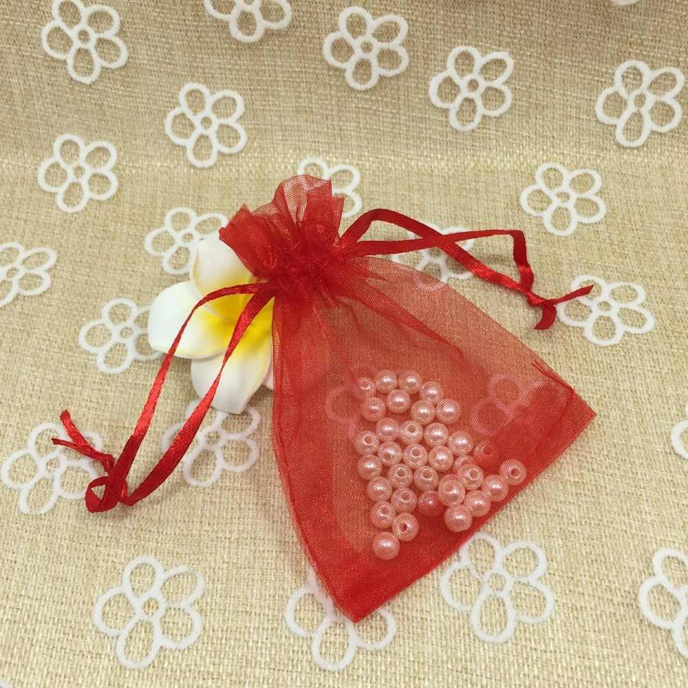 最低価格 8 × 10 センチメートル 7 色混合オーガンザバッグ結婚式ギフトキャンディジュエリーポーチクリスマス装飾誕生日プレゼント