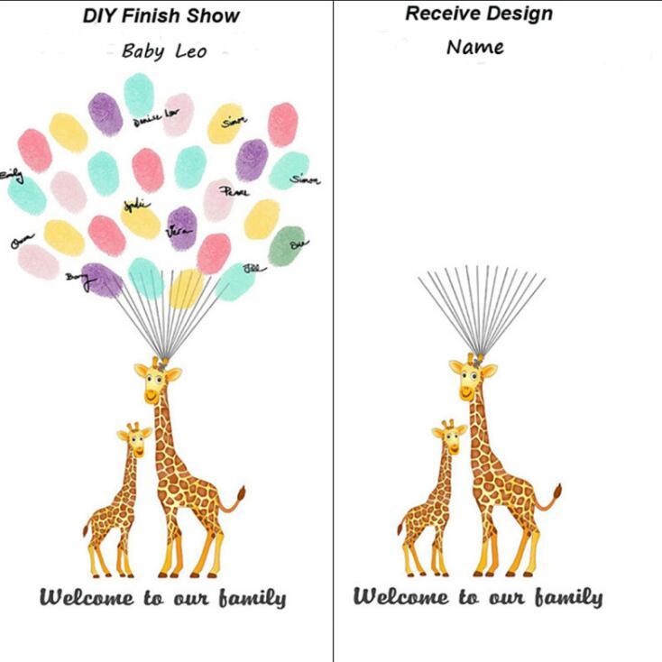 Parmak Izi Ağacı Boyama Diy Bebek Duş Doğum Günü Parti Konuk Imza