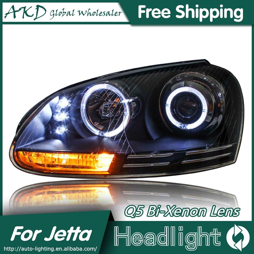 AKD Car Styling for VW Jetta Headlights 2006-2010 Jetta Mk5 LED Headlight LED DRL Bi Xenon Lens High Low Beam Parking free shipping 2pcs lot 30w 12v car led high low beam headlight bulb for suzuki sx 2010 sx4 2006 wagon r 00 08 x90 1995