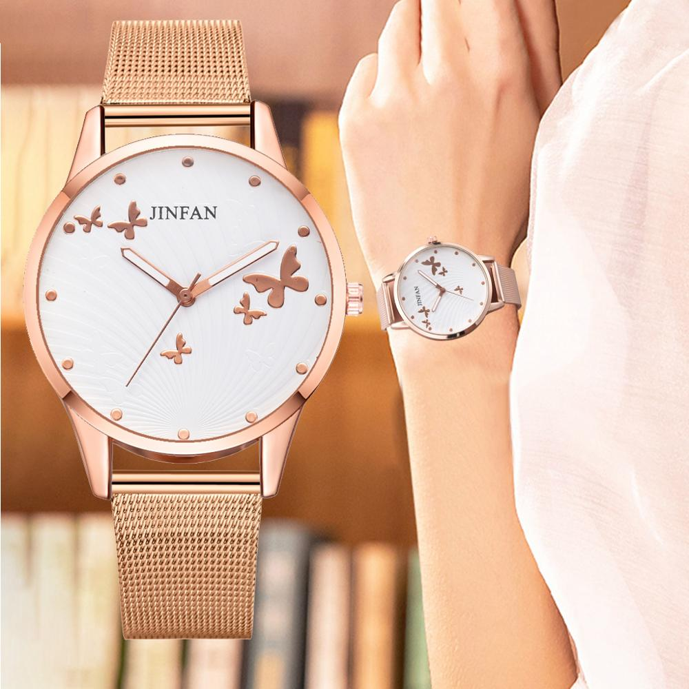 2019 New Women Stainless Steel Bracelet Watch Metal Mesh Rose Gold Butterfly Fashion/Luxury Ladies Quartz Watch Relogio Feminino