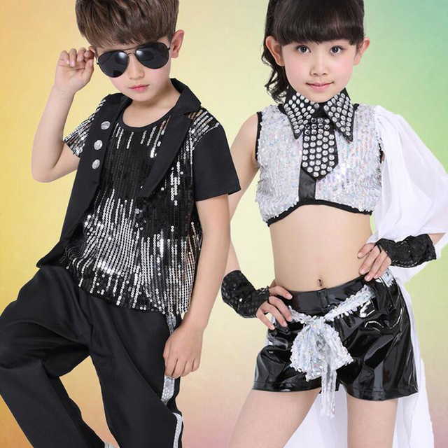 636101858 Girls Sequined Modern dance Tops+Pants Kids Party dancewear costumes ...