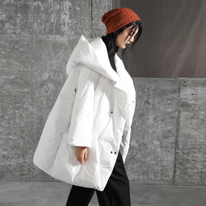 2019 Winter kausalen stil Zweireiher kurze typ warme parkas mit hut winter frauen schwarz und weiß jacke lange unten mäntel