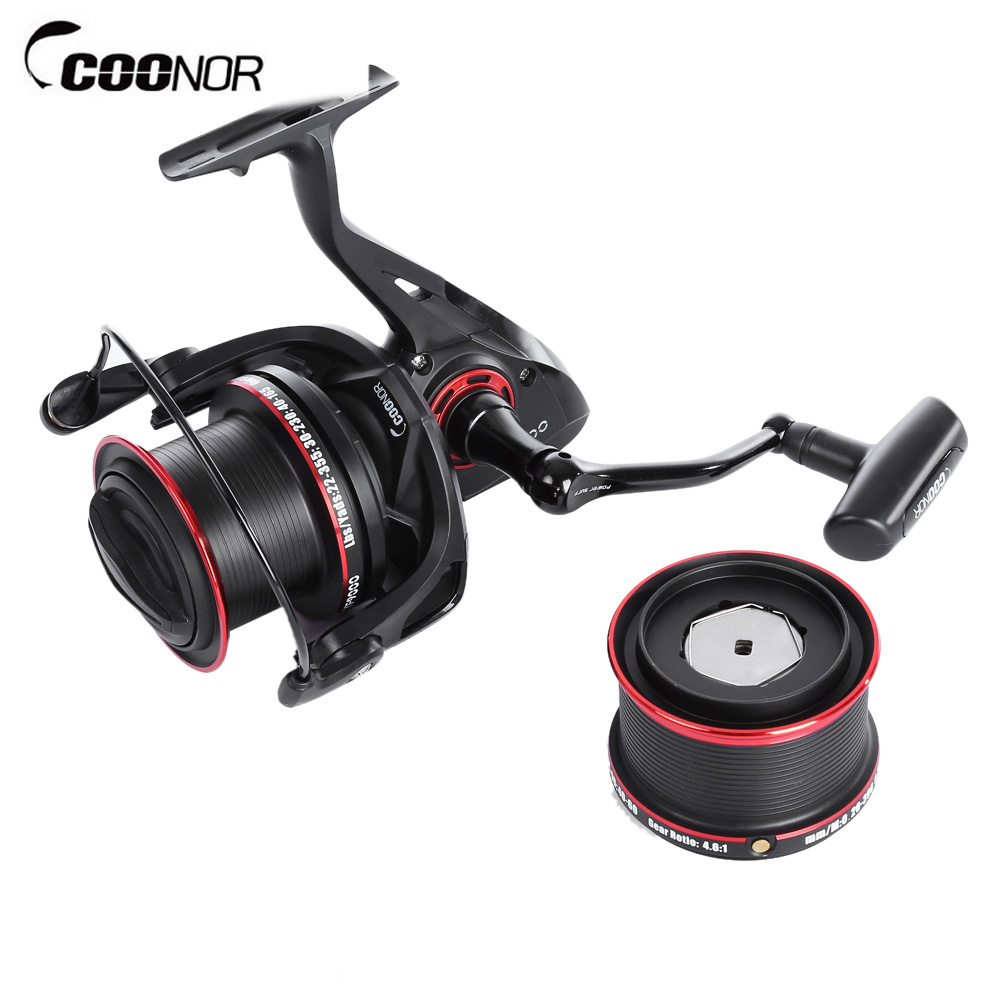COONOR YF8000 YF9000 Double Metal Spool Carp Fishing Reels Spinning Reel 12+2 Ball Bearings With Ratio 4.6:1 Pesca trulinoya double spool spinning reel stainless steel 9 1 ball bearings fishing reel fishing wheel
