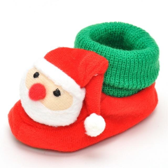 Niño Recién Nacido Lindo Dibujos Animados de Santa Claus Suaves Del Bebé Niña Niño Primeros Caminante de Prewalker Zapatos Para Fiesta de Navidad wholesa