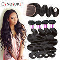 Peruvian Body Wave 4 Bundles With Closure Peruvian Virgin Hair With Closure Human Hair Bundles With Closure Rosa Hair Products