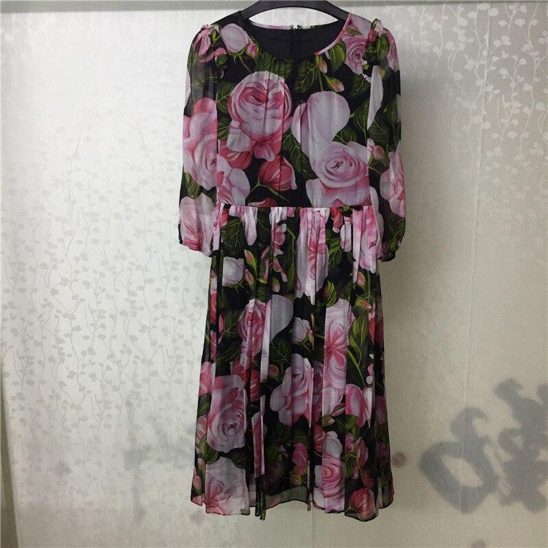 Femme soie robe Vestidos Floral imprimé robe 2018 nouvelle mode femmes automne robes mi-mollet