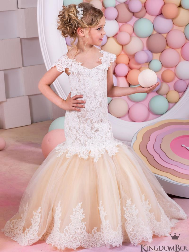 Mermaid Lace Arabic Flower Girl Dresses for Weddings Champagne Tulle Mother Daughter Dresses Long Children Girl Pageant Gown
