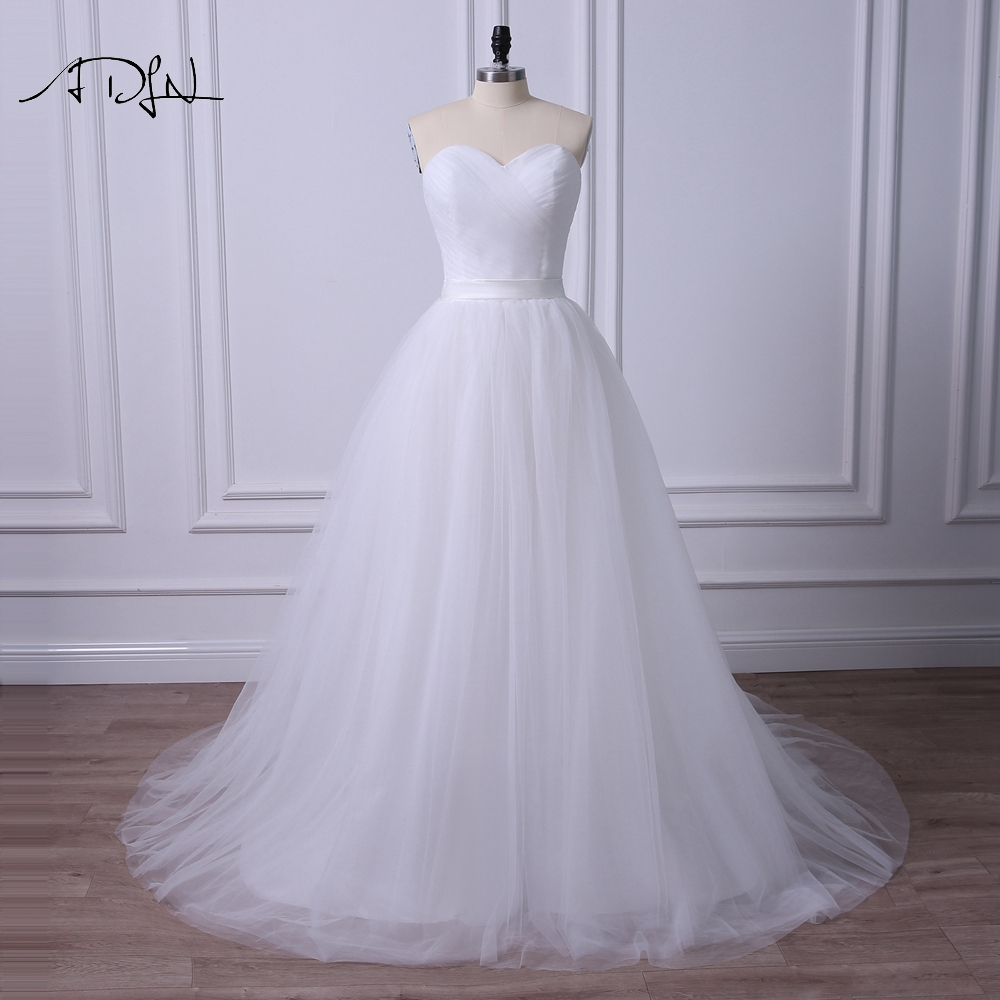 ADLN Simple White/Ivory Plus Size Wedding Dresses 2019 Sweetheart Sleeveless Corset Bridal Gown With Pleats Robe De Mariage