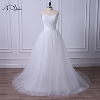 ADLN Đơn Giản Màu Trắng/Ngà Wedding Dresses 2017 Sweetheart Tay Corset Bridal Gown với Nếp Gấp Robe de Mariage