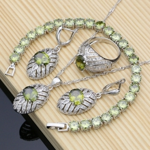 Silver 925 Jewelry Sets Olive Green Cubic Zirconia For Women Wedding Earrings/Rings/Necklace Set Dropshipping