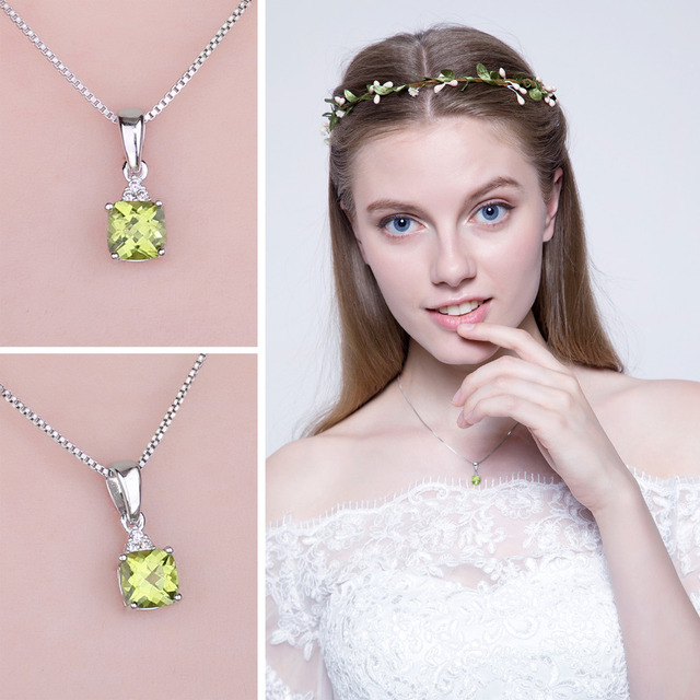 JewelryPalace 1.1ct Cushion-Cut Genuine Peridot Pendant Necklace 925 Sterling Silver Jewelry Without Chain Fine Jewelry