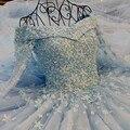 Удивительные Bling Светло-Голубой Свадебное Платье Аппликации Из Бисера Свадебное платье С Длинным Рукавом Паффи Бальное платье vestido noiva принцеса 2017