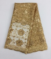 African embroidered mesh lace fabric  French net lace fabric 5yds/pc in gold color for wedding dress