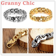 Granny Chic Charm 8.26″ 14mm Mens Bracelet Gold Silver 316L Stainless Steel Curb Cuban Link Chain Boys Fashion Wholesale Jewelry