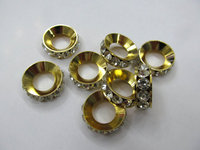 larger hole 100pcs 8 10 12 20mm Micro Pave Crystal spacer Brass Rondelle Pinwheel Buttone silver gold gunemtal mixed making Fin