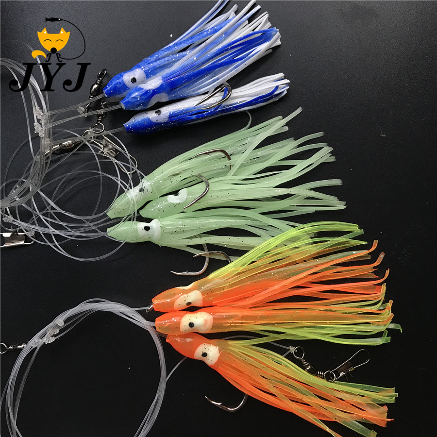 Artificial 6 Bags Srtificial Octopus Sabiki Rigs Bait , Fishing Snapper Rigs , Sea Grouper Pink Sailfish Lure Bottom Bait