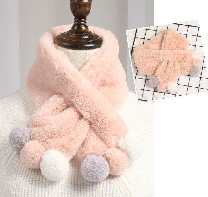 Зимний милый детский шарф, шарфы для мальчиков и девочек, детский шарф с воротником из искусственного меха кролика с помпоном, теплые шарфы - Цвет: Light pink