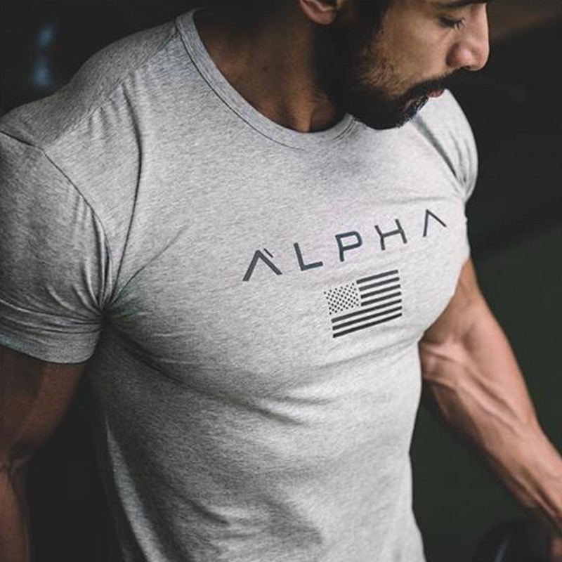 Gym T-shirt Men Short Sleeve Cotton T-shirt Casual Print Slim T Shirt Male Fitness Bodybuilding Workout Tee Tops Summer Clothing