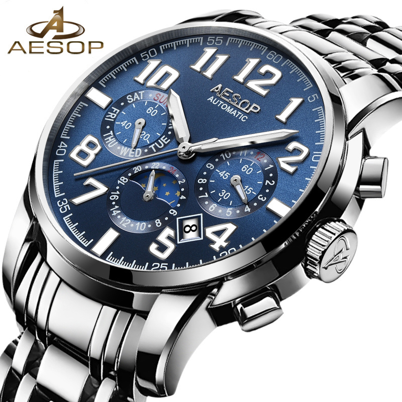 AESOP Blue Fashion Men Watch Men Automatic Mechanical Wrist Wristwatch Stainless Steel Male Clock Relogio Masculino Box Brand 46 aesop top brand fashion watch men waterproof luminous automatic mechanical wristwatch male clock calendar relogio masculino 46