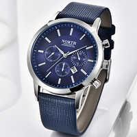 NORTH Mens Watches Top Brand Luxury Fashion Quartz Watch Men Leather Strap Casual Clock Waterproof Sport Watch Relogio Masculino