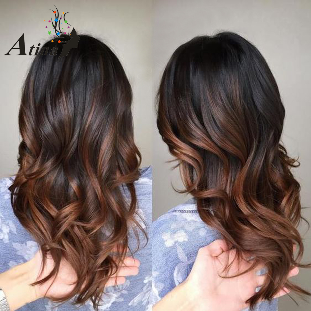 Ombre Human Hair Lace Front Wig Loose Wavy Remy Hair Brazilian Wig With Baby Hair 150% Density 1BT30 Preplucked Virgin Wig Atina