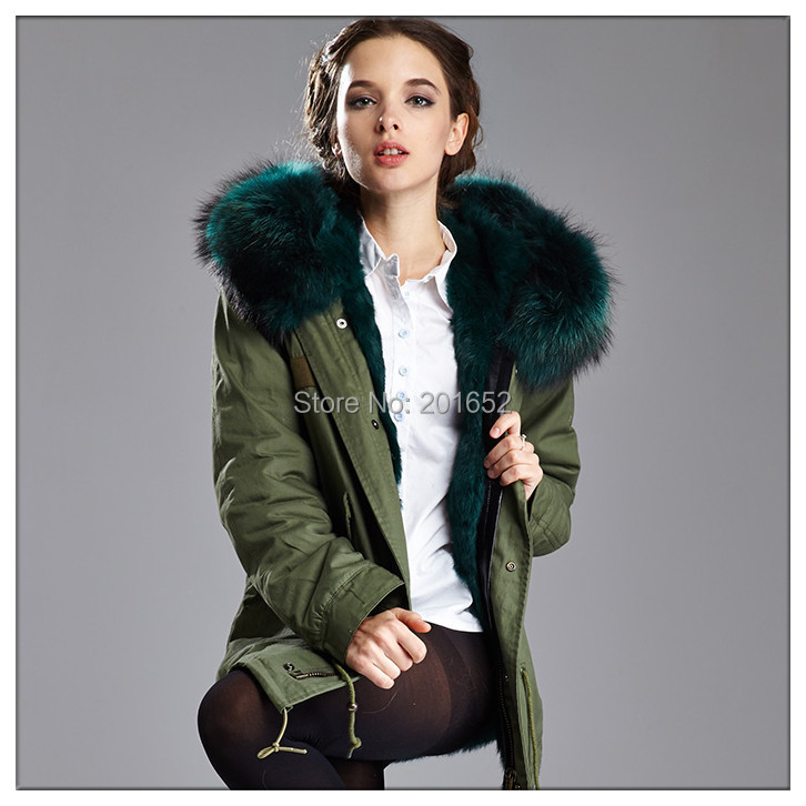 2015 new arrived factory price men and women ARMY MINI PARKA PATCH real fur coat