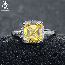 ORSA JEWELS New Arrival Beautiful Wedding Ring 2 ct Princess Cut Yellow Zircon with Micro Paved Clear Zircon Ring for Women OR57