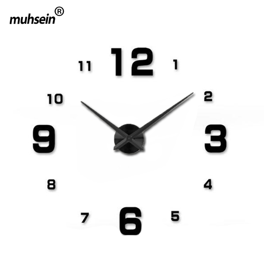 2019muhsein Plein Noir Horloge Murale Moderne DesignHome Décoration Grand Miroir 3D DIY Grand Horloges Murales Décoratives Montre Cadeau Unique