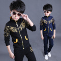Fashion 2016 autumn 4-14 years old teenage boys and girls two pieces kids tracksuit autumn set