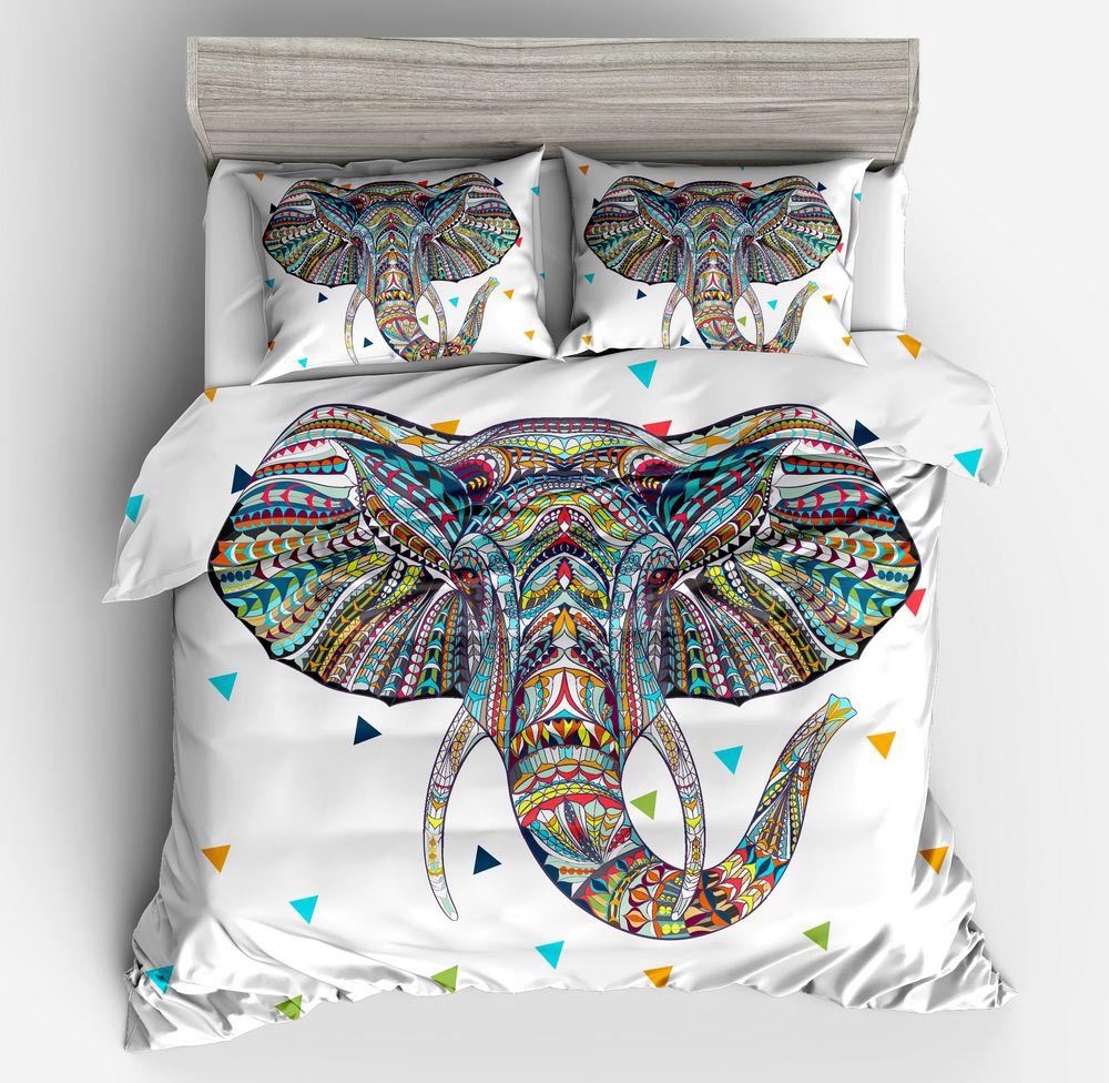 2/3 Pieces 3D Elephant Bedding Set Bohemia twin full queen King Duvet Cover with Pillow Case Colorful Printed Indian quilt Cover2/3 Pieces 3D Elephant Bedding Set Bohemia twin full queen King Duvet Cover with Pillow Case Colorful Printed Indian quilt Cover
