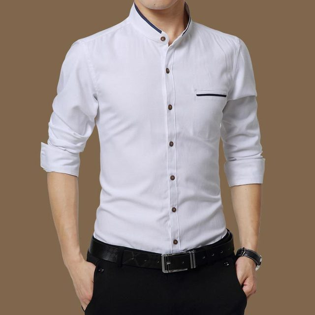 Casual Social Formal Business Slim Office Shirts white 4XL 5XL 3